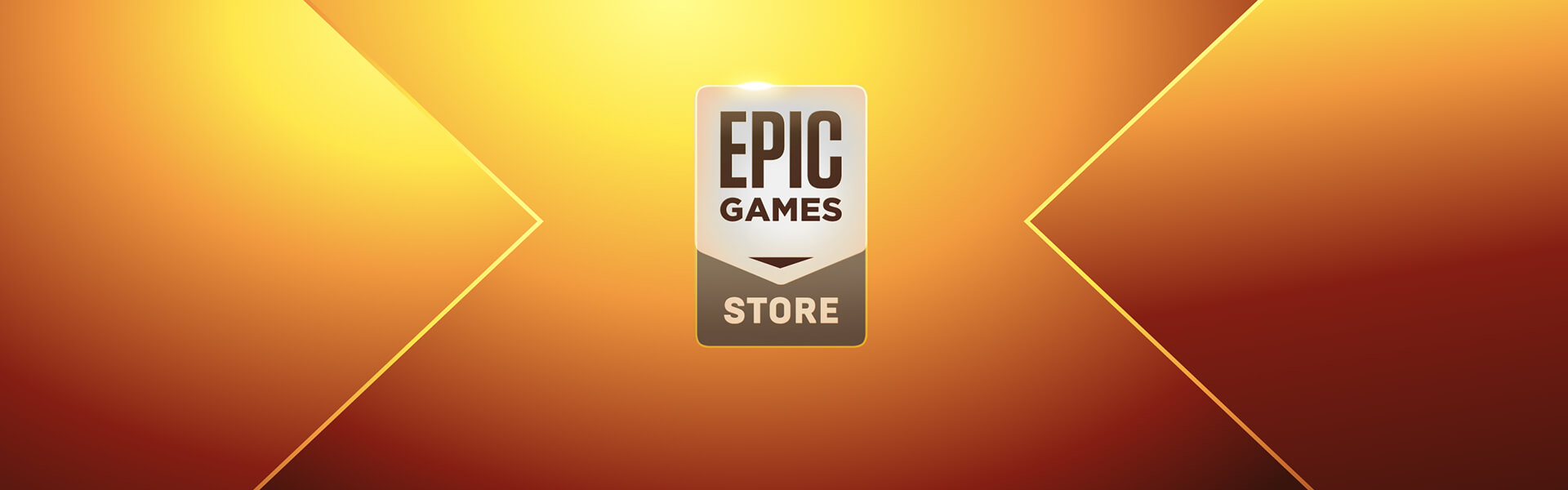 Epic Games Store logo against a deep orange and yellow gradient
