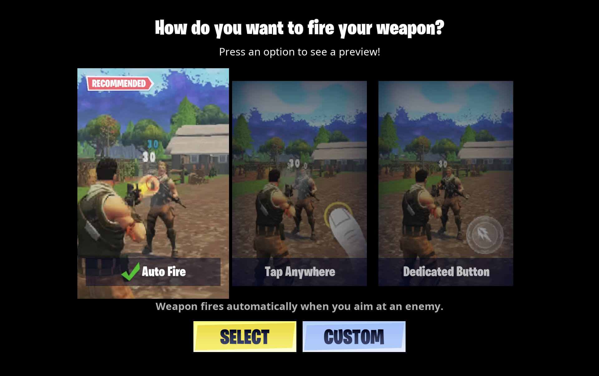 Weapon Fire Controls for Fortnite Mobile
