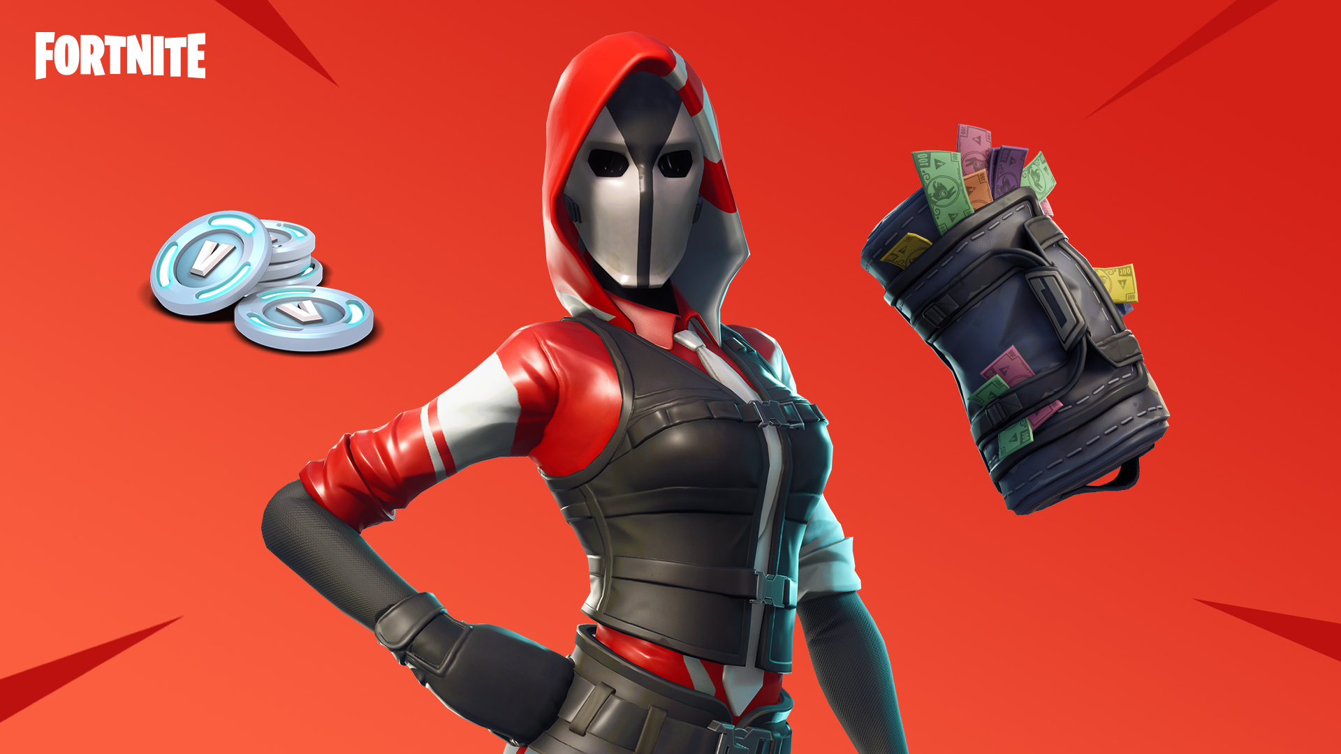 Fortnite Ace Outfit and Swag Bag Back Bling