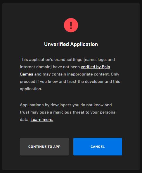 Auth Unverified Application