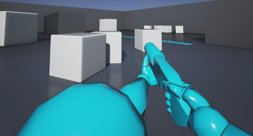 Screenshot of first person shooter template in UE4