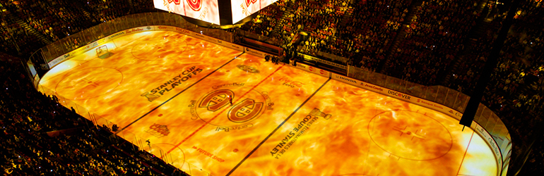 Canvas GPU image processing software in action at a pre-game NHL show during the 2014 playoffs in Montreal.