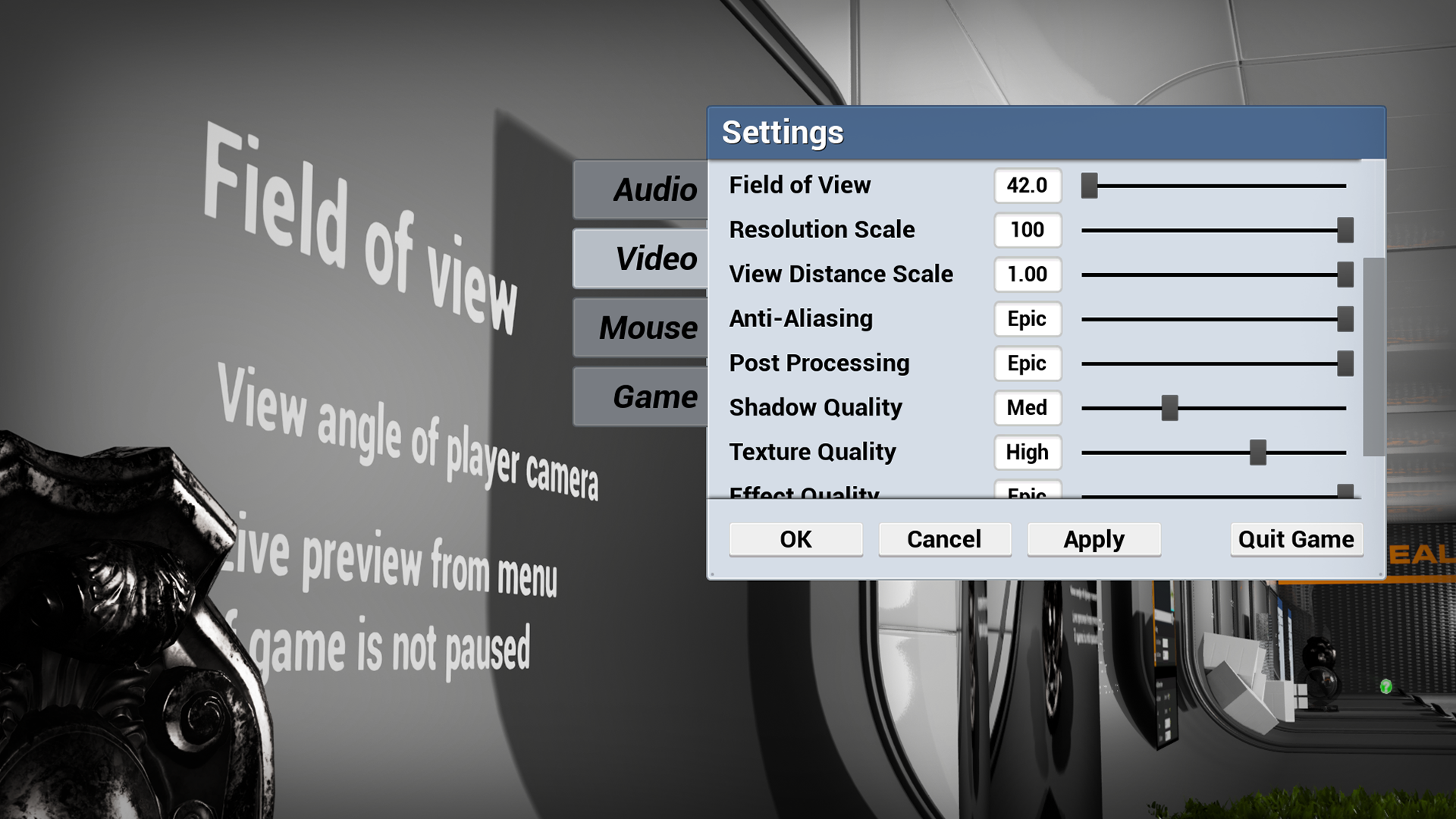 Quality Game Settings Menu by Henrik Goldsack