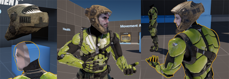 Figure 2: ace scanning and mapping in Unreal Tournament using the Scan 3D Component
