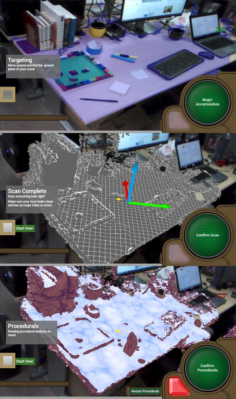 그림 4: 씬 퍼셉션 컴포넌트 (출시 예정)을 이용해서 증강 현실 뷰를 보는 모습