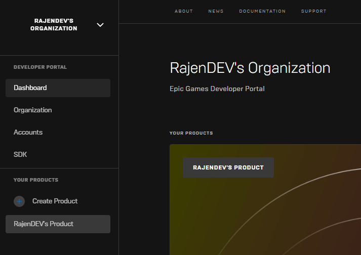 Developer Portal Default Organization Product