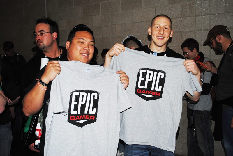 Fans with Epic Gamer Shirts at the PAX East Cosplay Meetup