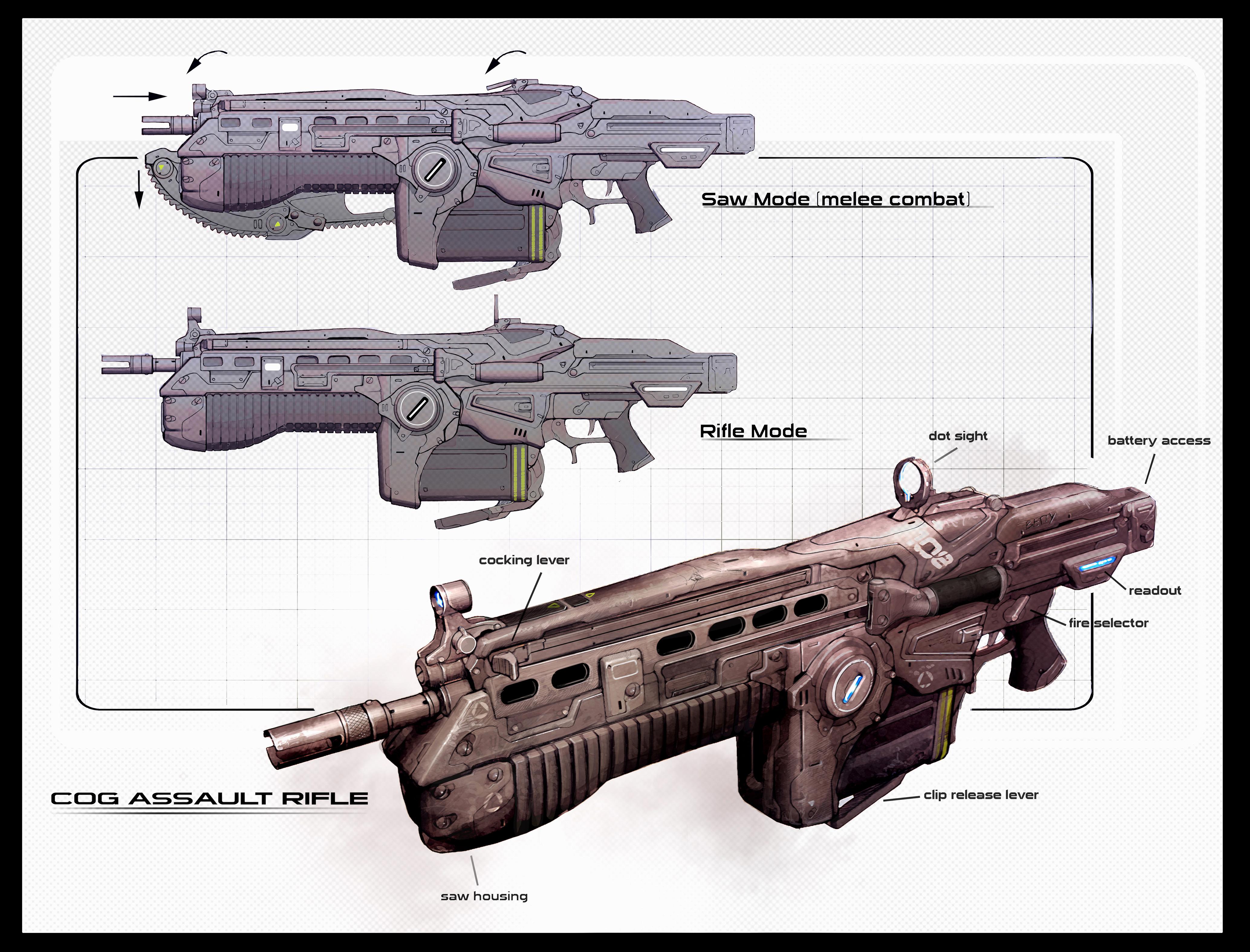 Gears of War 2 Lancer rifle replicas