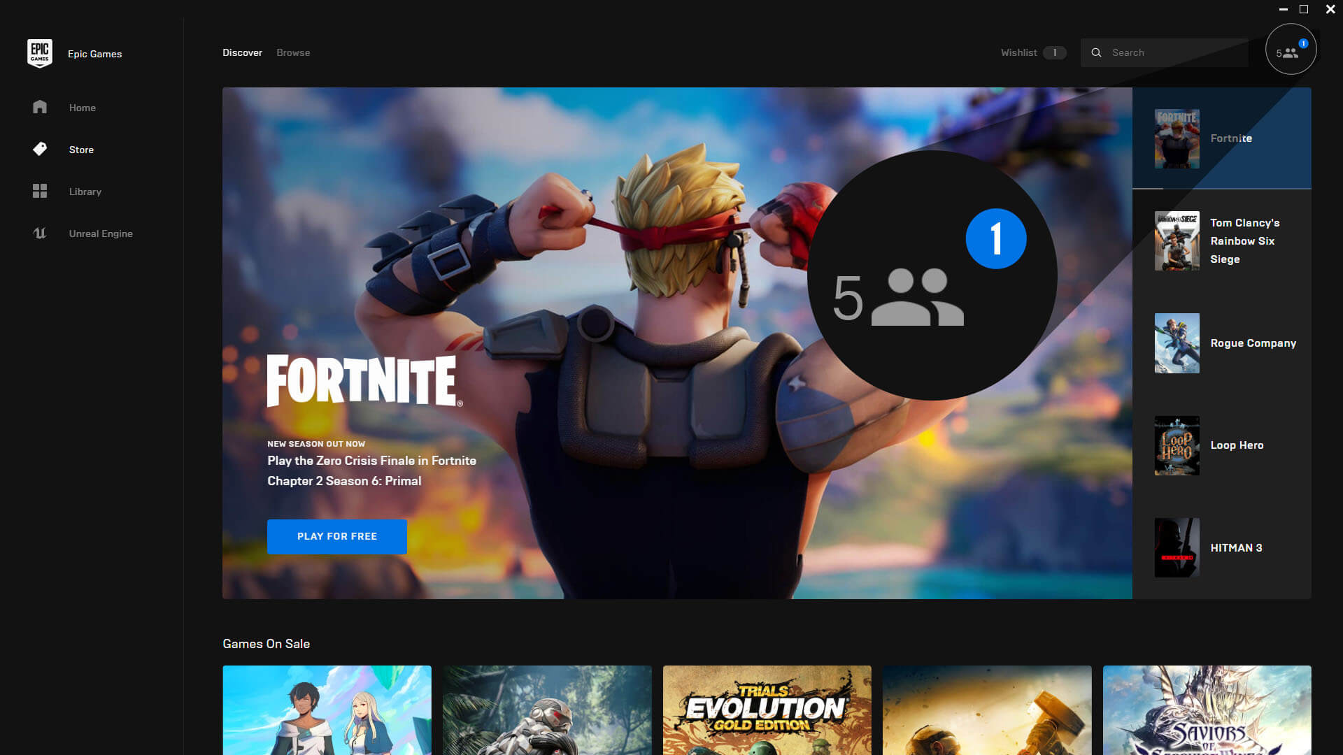 Epic Games Minimized View for Social Panel