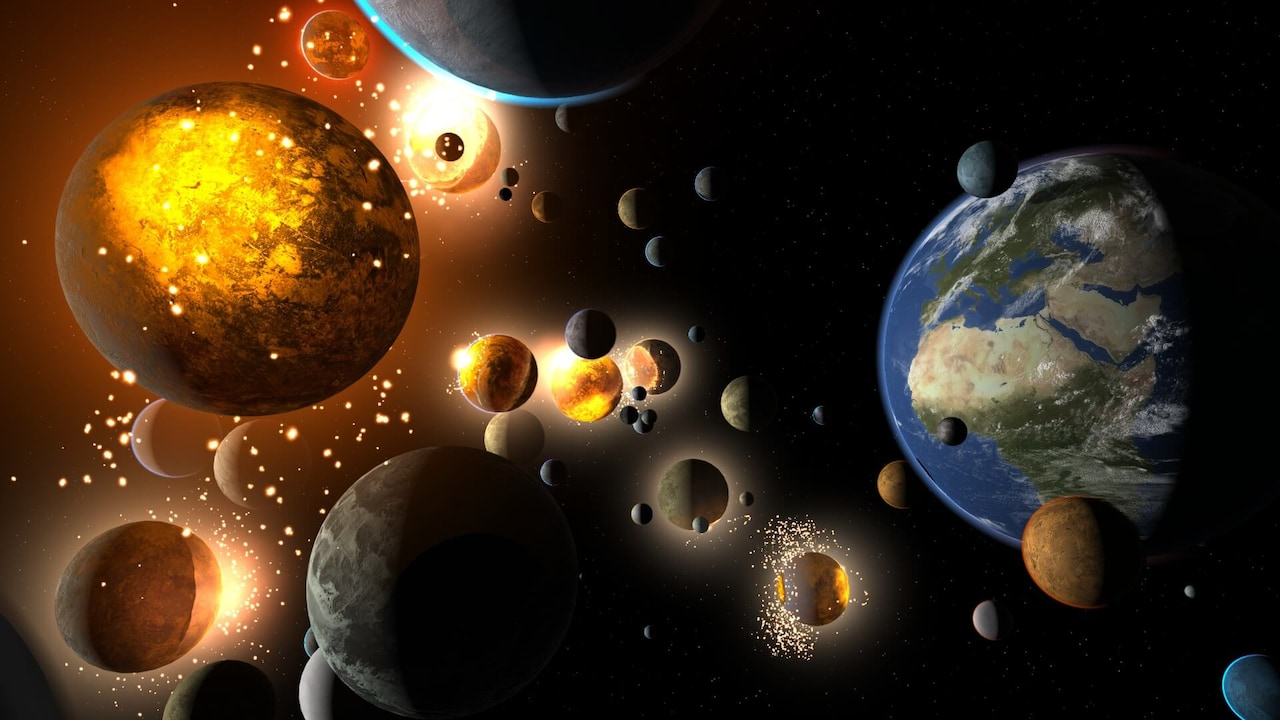 Earth surrounded by many nearby planets. Many of the nearby planets are colliding.