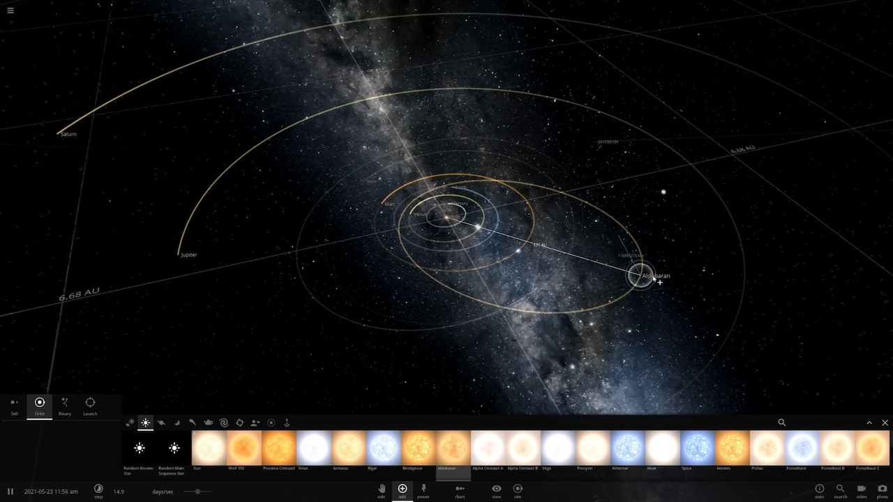 Adding a star to a simulating using the Add menu, part of the user interface.