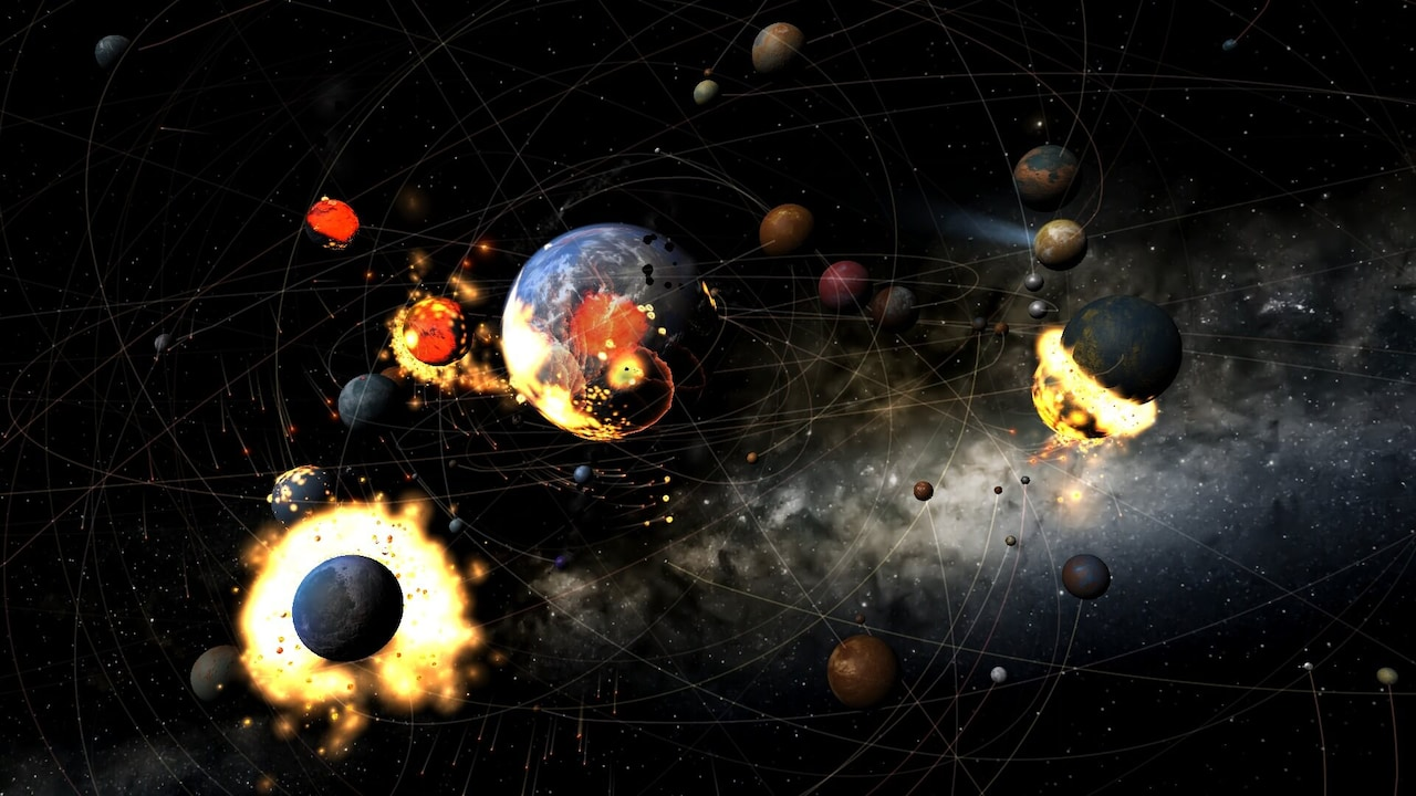 An assortment of planets moving, showing their trails, and colliding with each other.