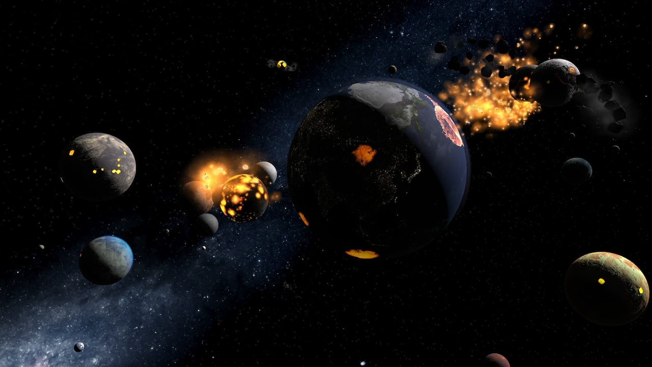 An assortment of planets slowing colliding with each other.