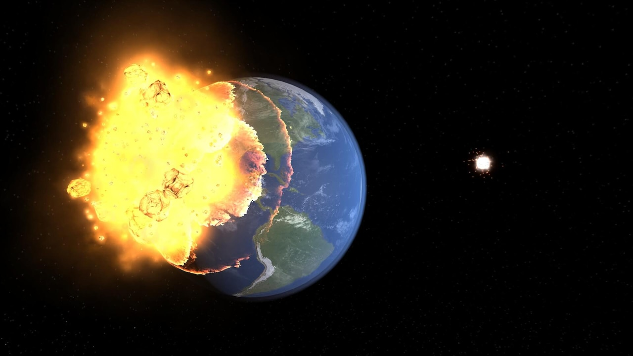 The Moon colliding with Earth showing a large impact.