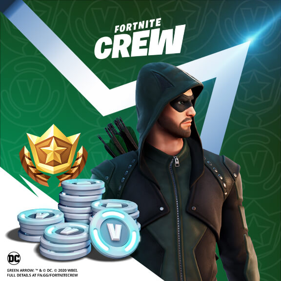 Fortnite Crew Green Arrow Revealed For January Crew Pack Get your bow at the ready, green arrow joins the fortnite crew this january! green arrow revealed for january crew pack