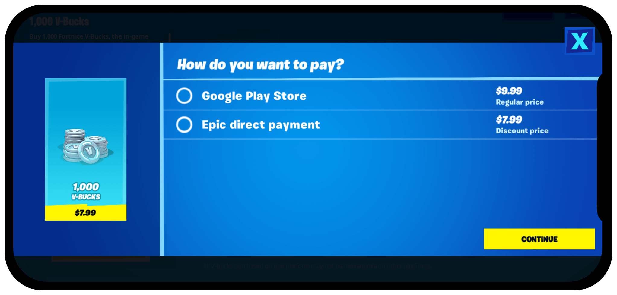 Epic direct pay on Google Play Store