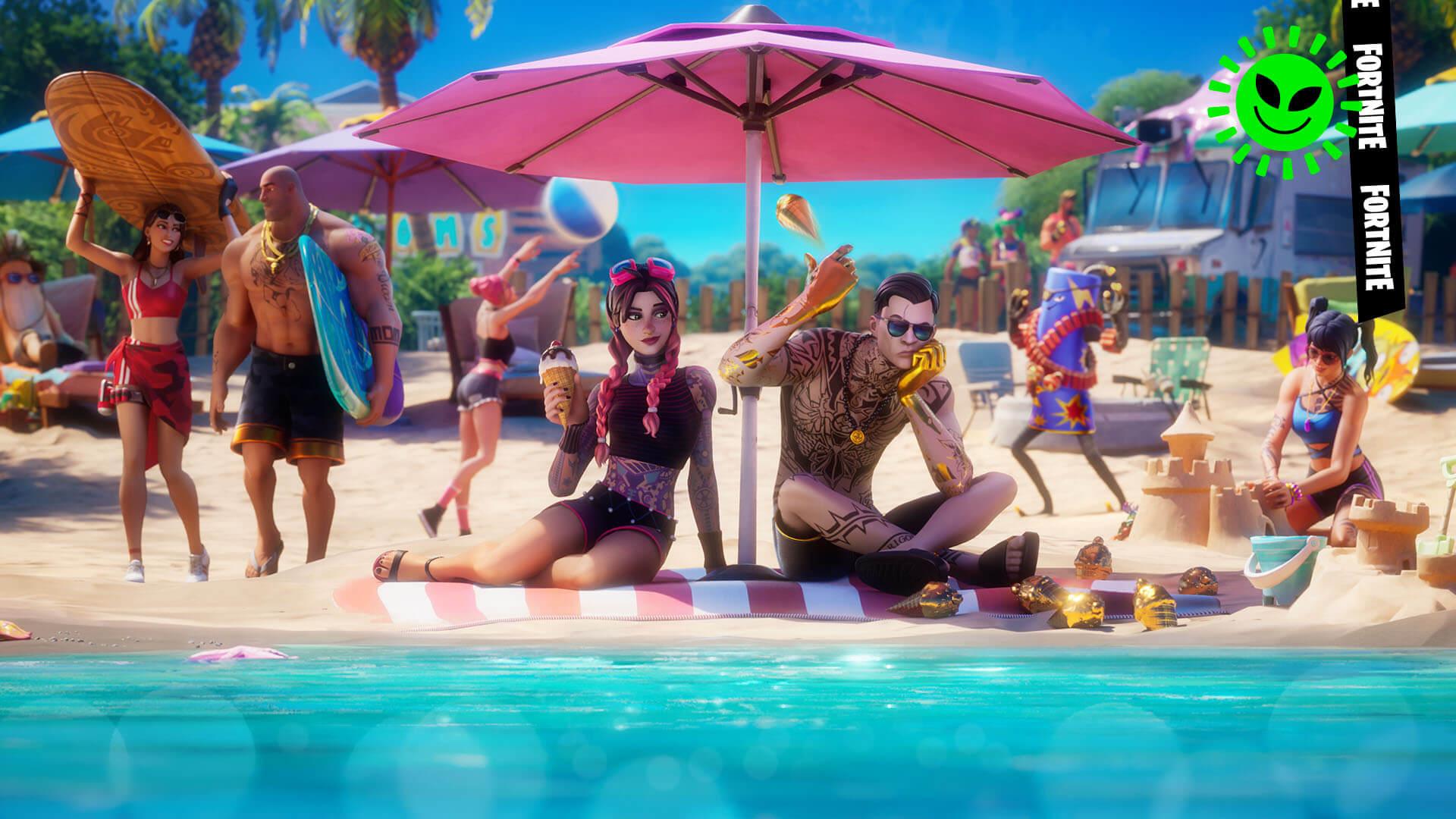 Fortnite Beach Brutus, Beach Jules, Midsummer Midas, and Scuba Crystal