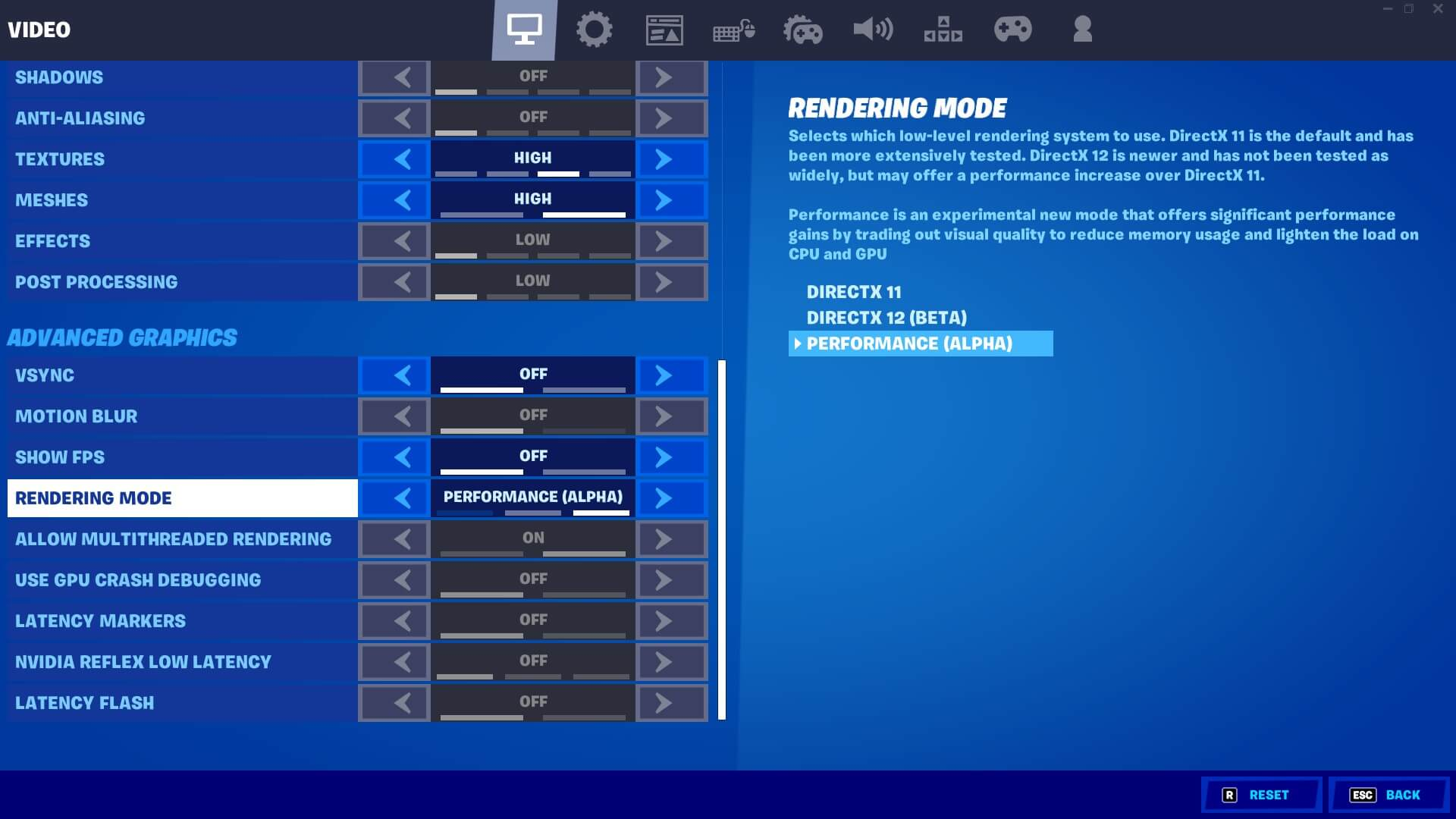 Fortnite Performance Mode Under Advanced Graphics