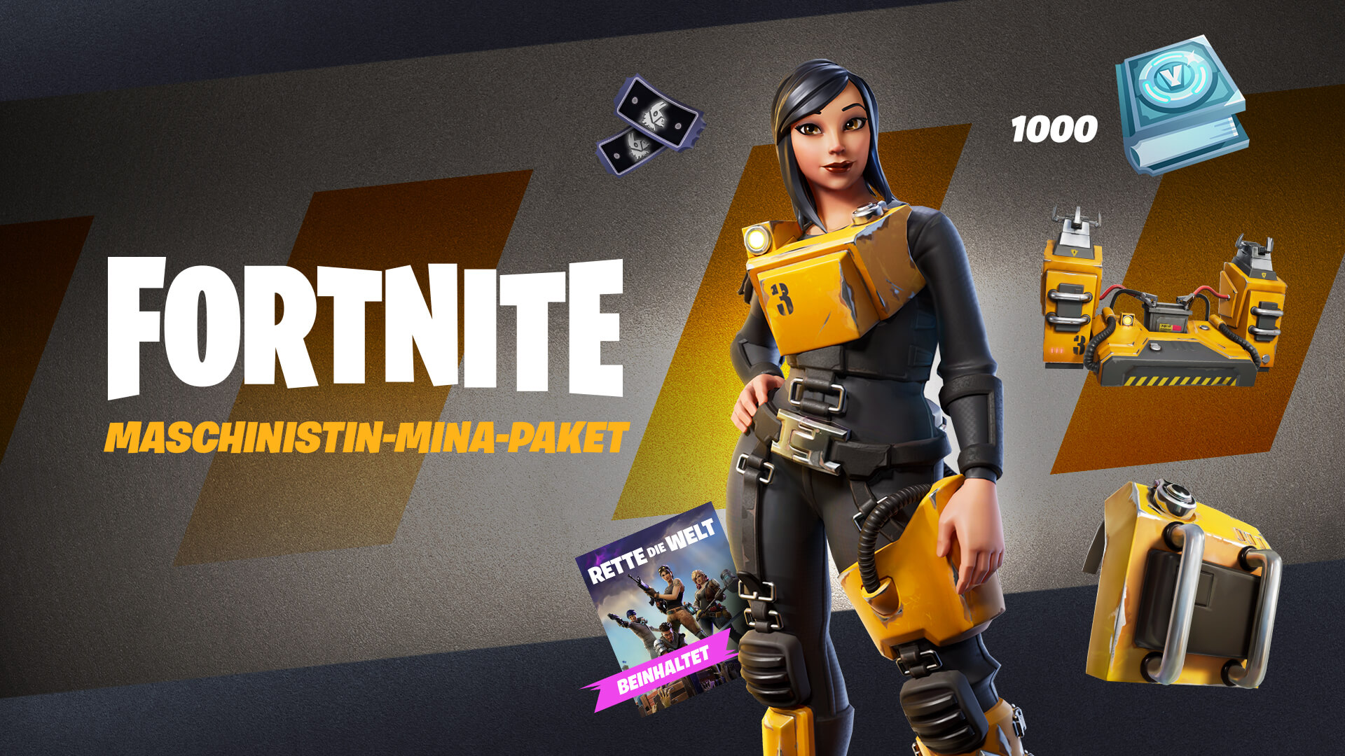 Fortnite Save The World Machinist Mina Pack DE
