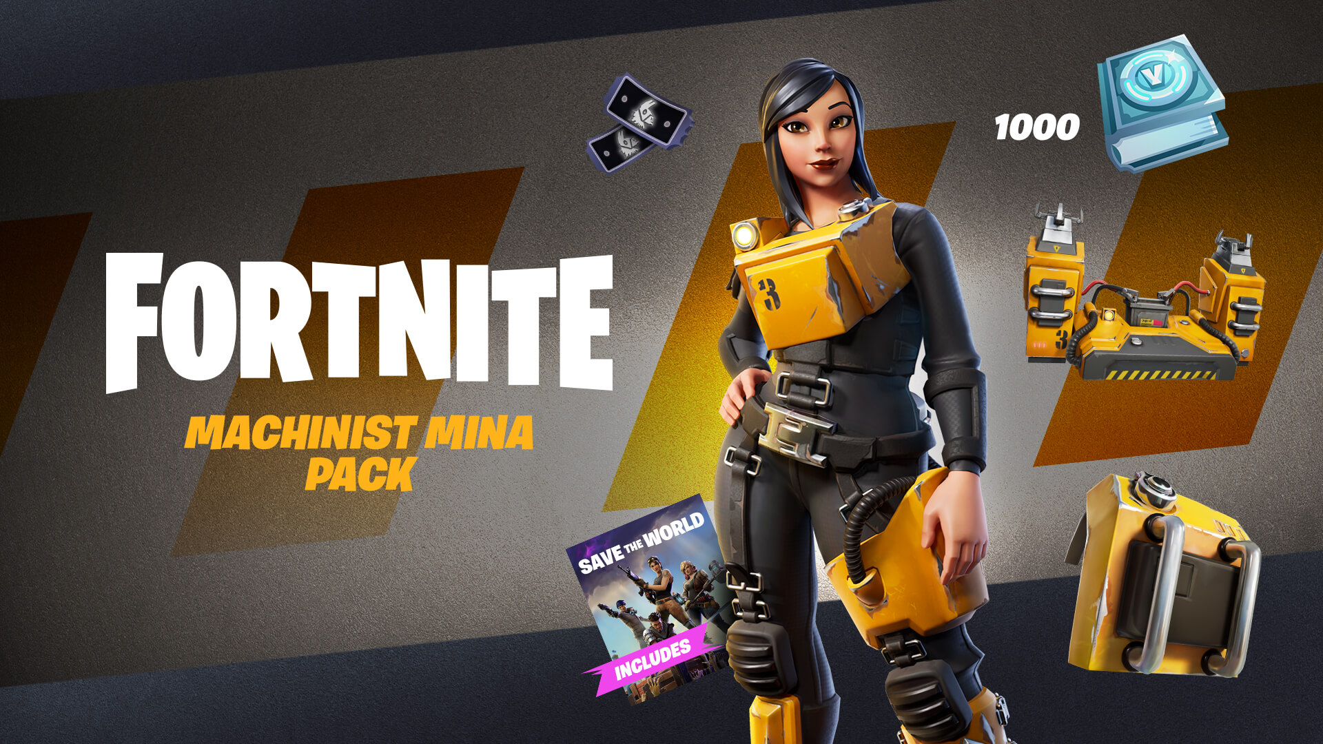 Fortnite Save the World Machinist Mina Pack EN