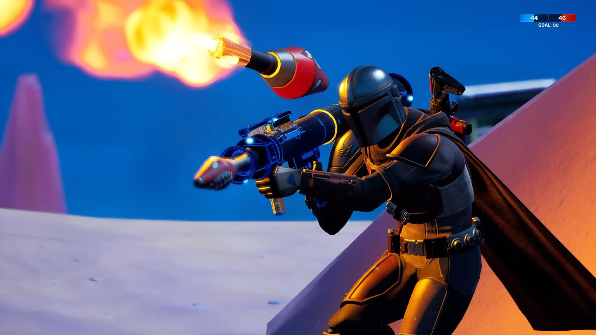 Fortnite The Mandalorian Uses Rocket Launcher