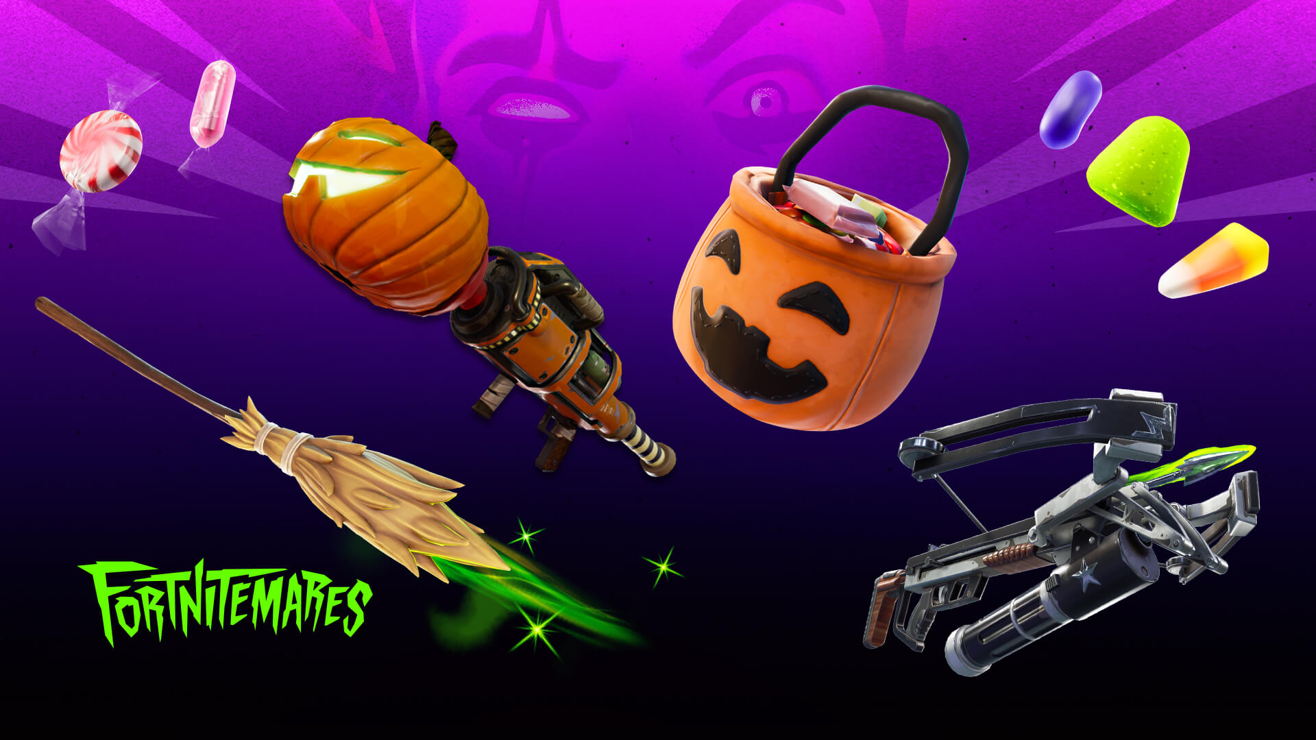 Fortnitemares Pumpkin Rocket Launcher, Fiend Hunter Crossbow, and Witch Broom