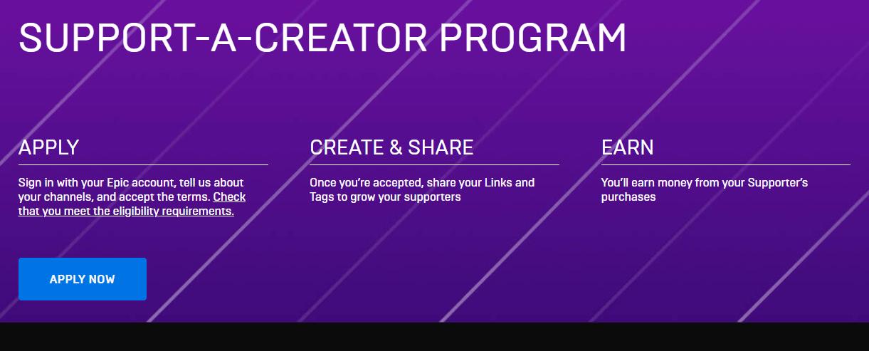 الانضمام إلى برنامج مساعدة المبدعين من Fortnite