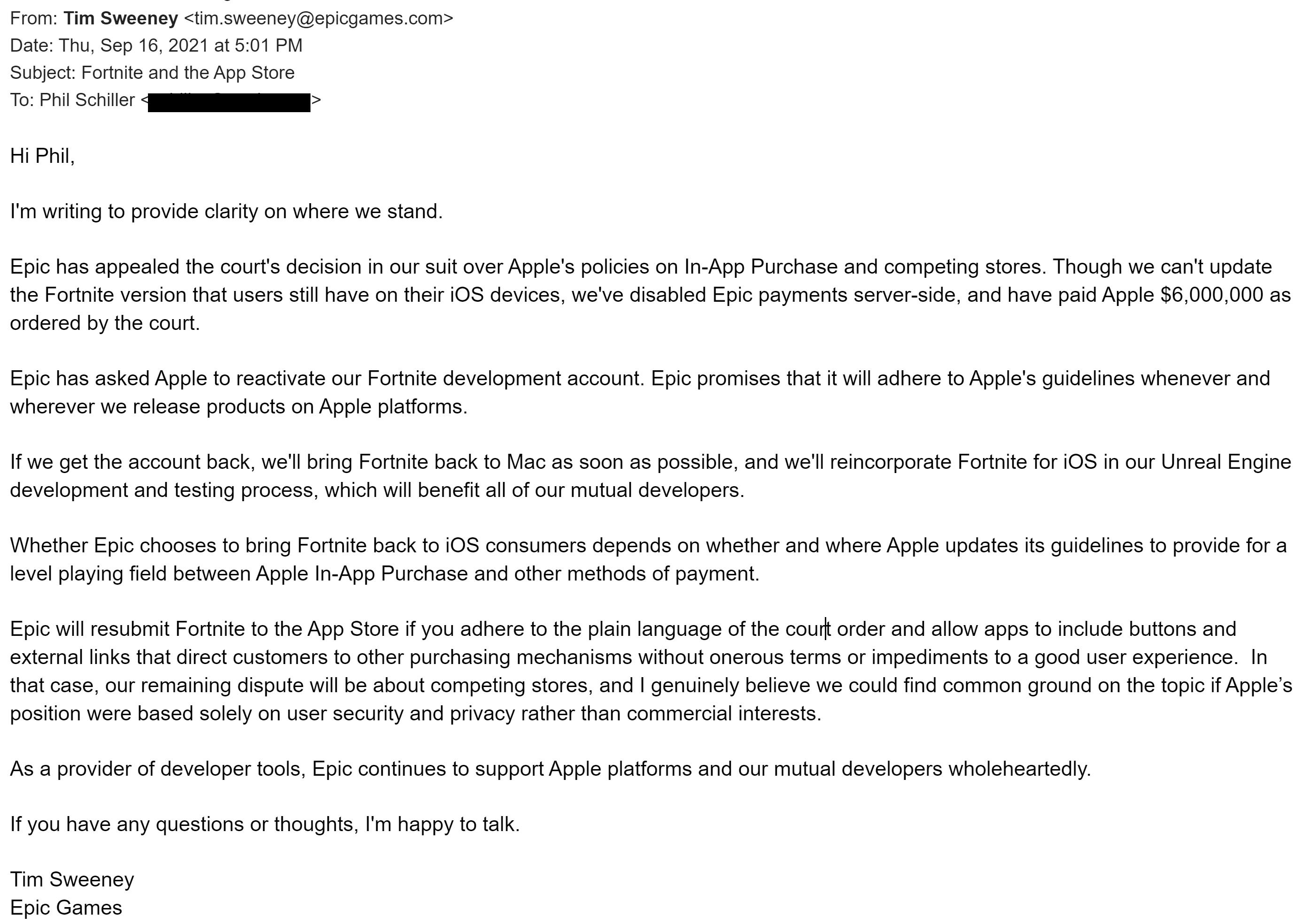 Phil Schiller Letter