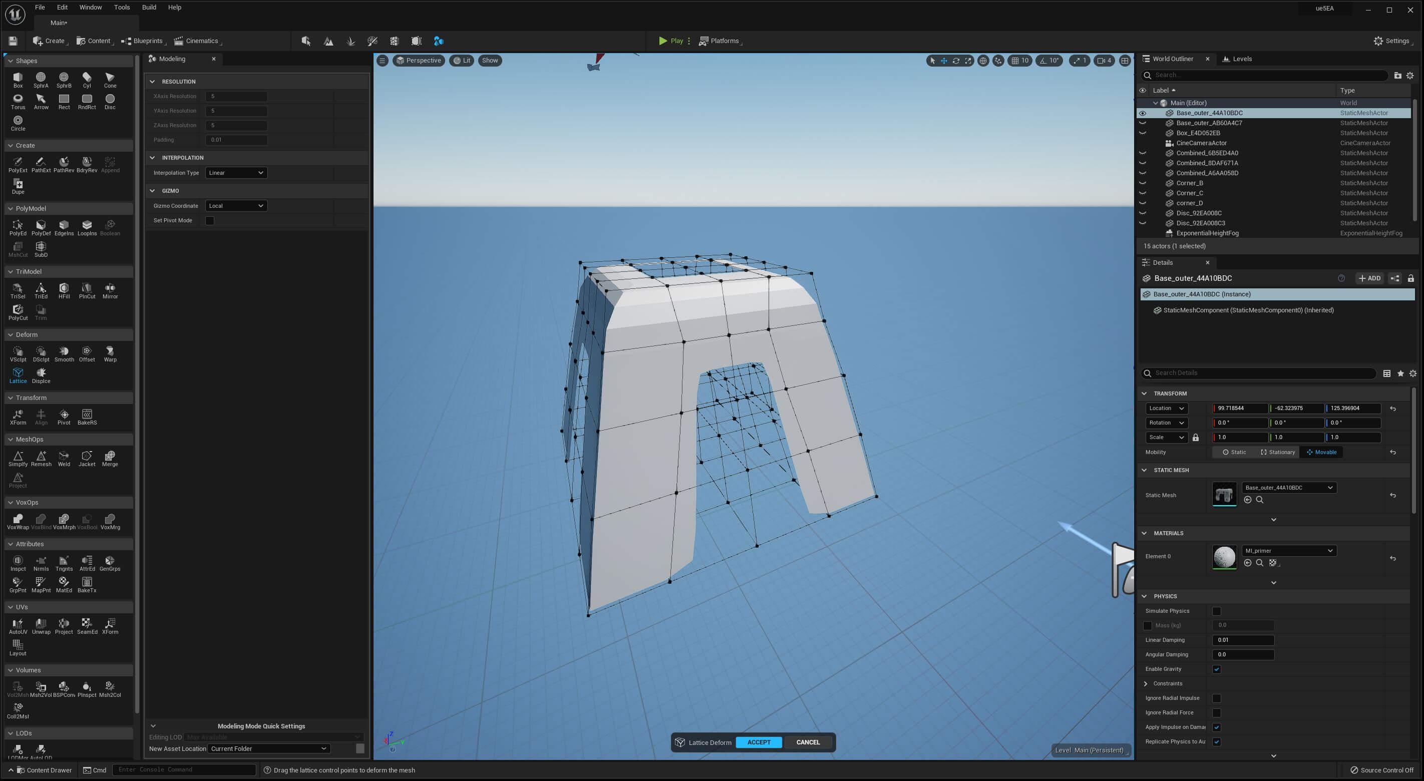 UE5 Modeling Mode TECH BLOG Lattice BaseB